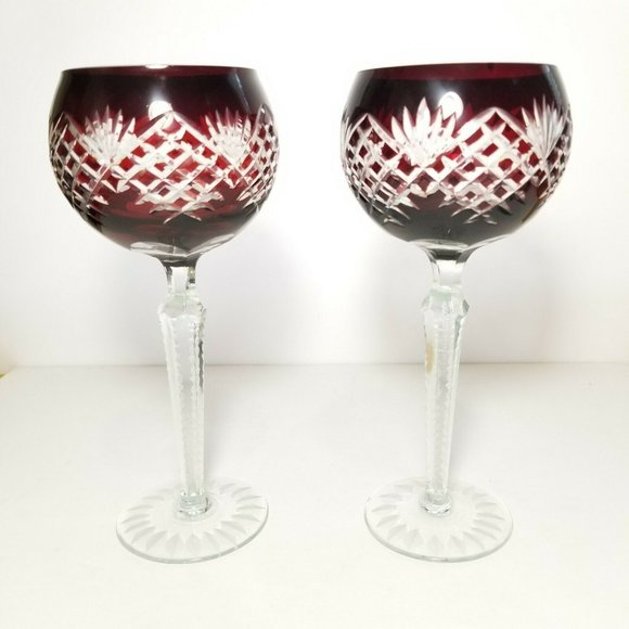 Bavarian style ruby red and clear cut glass wine goblets lot of 2 wine glasses